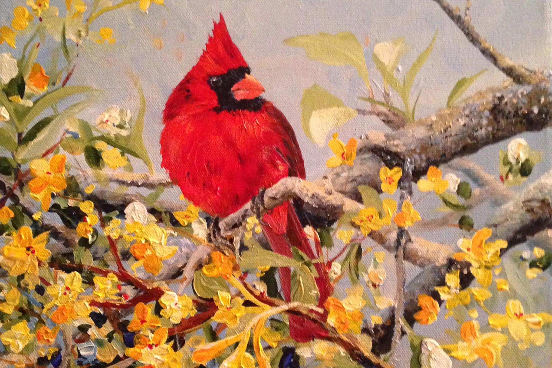 nature painting in acrylic of cardinal on branch with yellow blooms