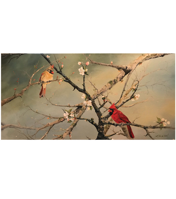 acrylic on canvas of male and female cardinal on spring branches