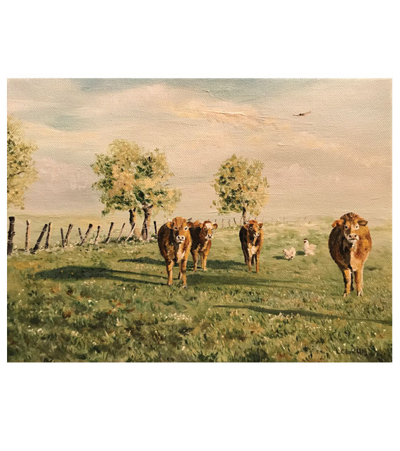 acrylic on canvas of brown cows and chickens in a country field