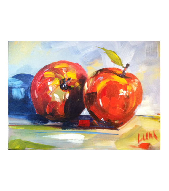 acrylic painting on canvas of apples