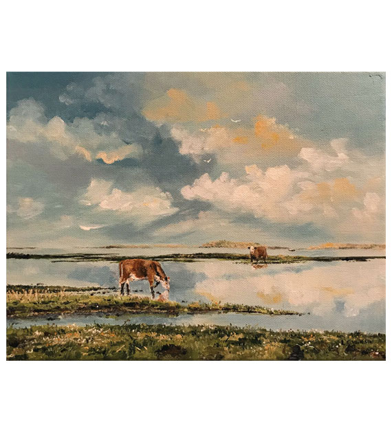acrylic painting of two cows getting a drink of water
