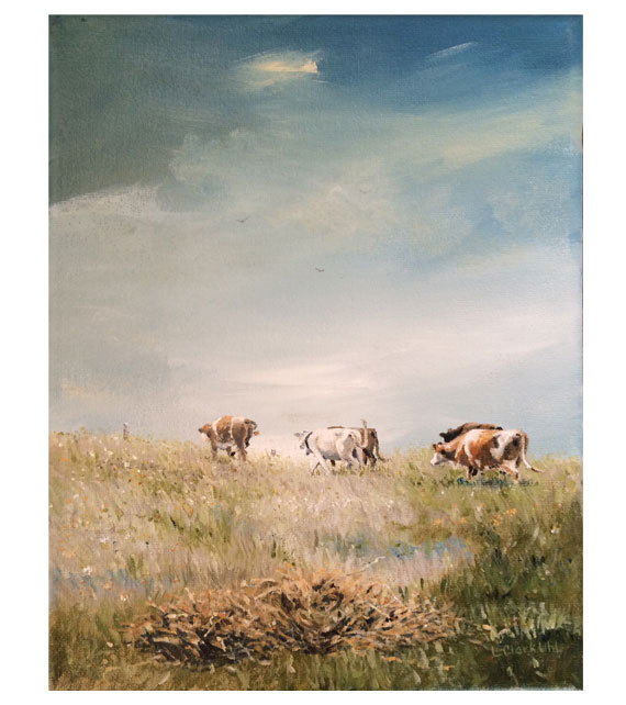 acrylic on canvas of cows walking out to pasture