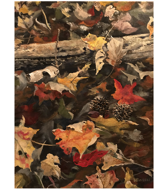 acrylic on canvas of fall leaves on the ground