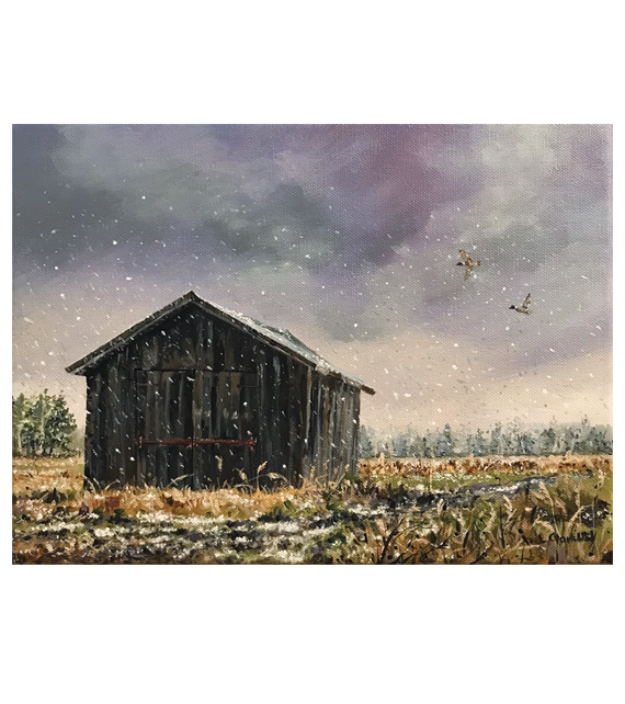 acrylic painting on canvas of an old barn during the first snow of winter