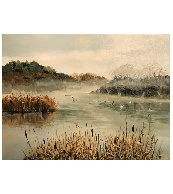 Landscape painting of ducks and swan swimming in fog