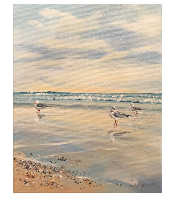 acrylic on of gulls on a beach walking in the water