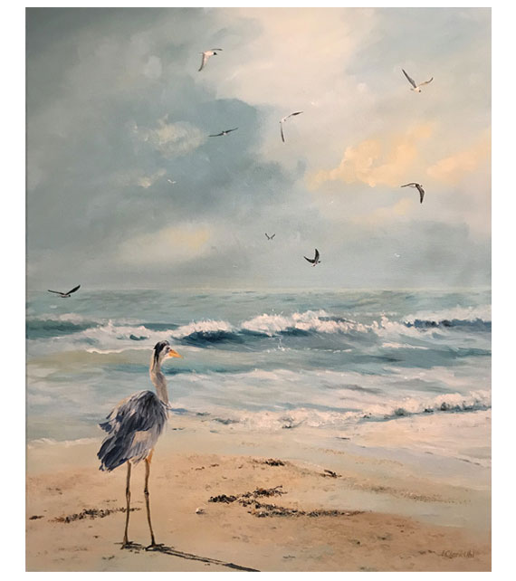 acrylic on canvas of a great blue heron on the beach in North Carolina