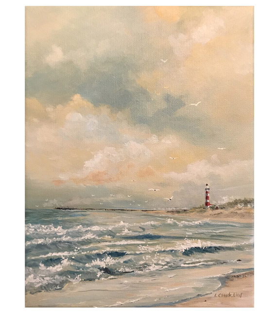 painting of a choppy surf on the beach with a red and white striped lighthouse in the distance