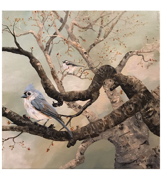 acrylic on canvas of a tufted titmouse and chickadee perched on spring branches