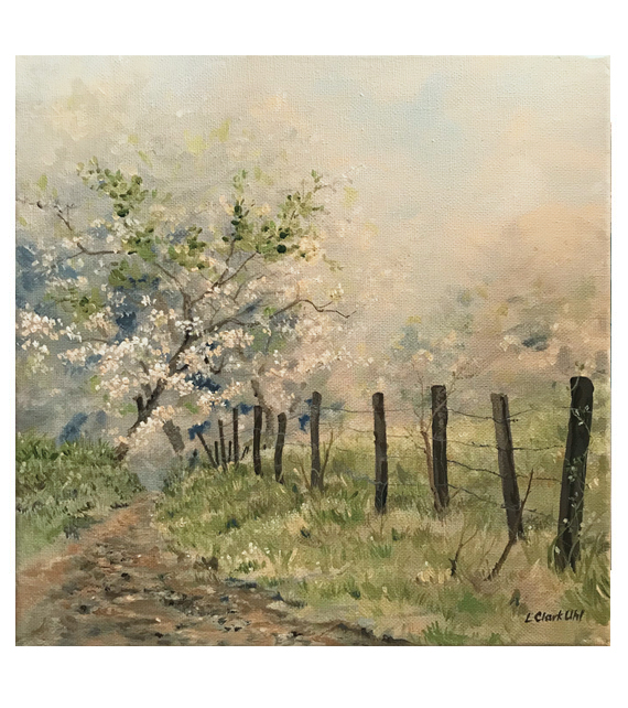 acrylic painting on canvas of a path lined with wild dogwood trees in the morning mist