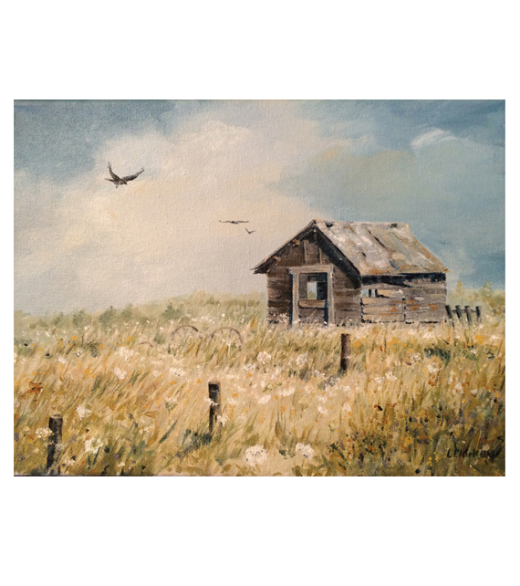 painting by Linda Clark Uhl of an old barn in a field with Queen Anne's Lace