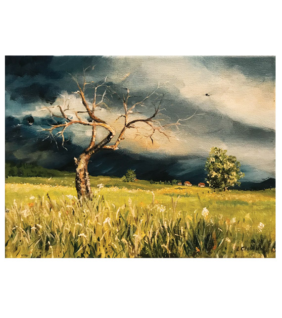 acrylic on canvas of an old tree in countryside meadow