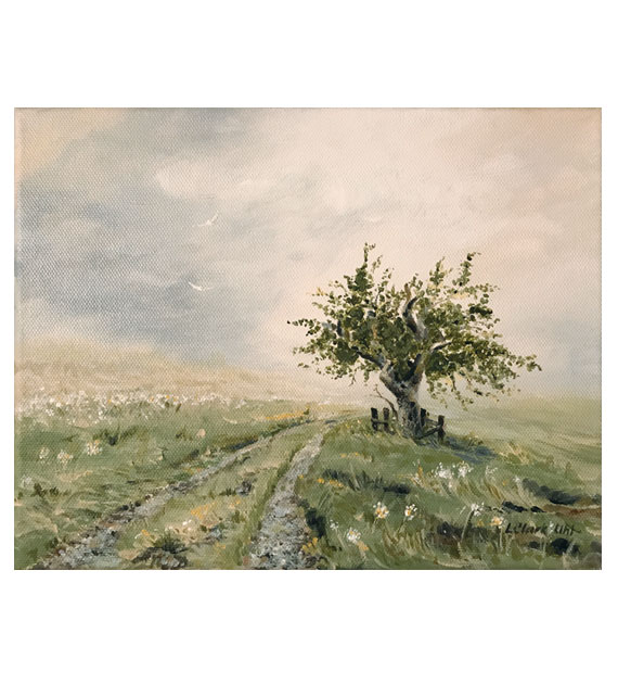 Acrylic painting of an old tree along a country road