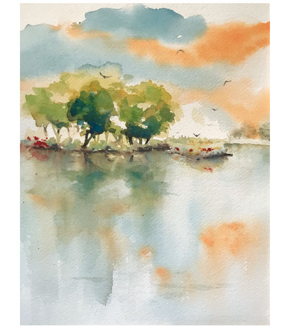 watercolor of country pond