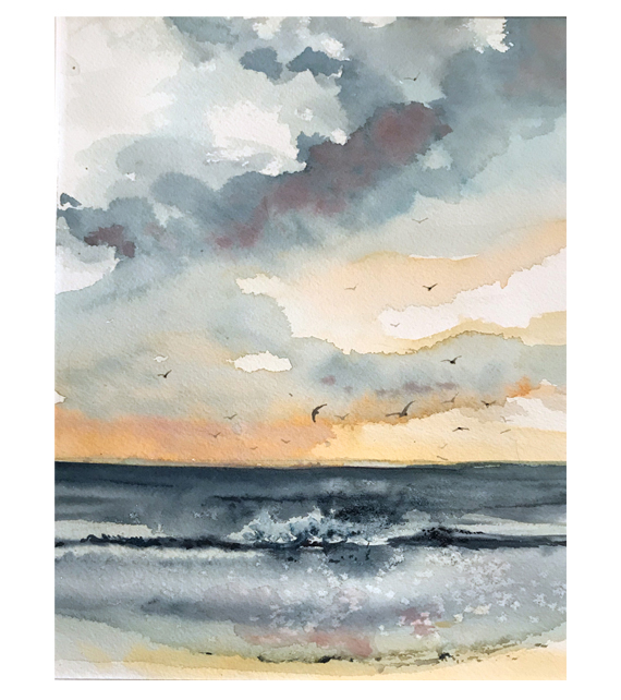 watercolor of terns flying at the beach