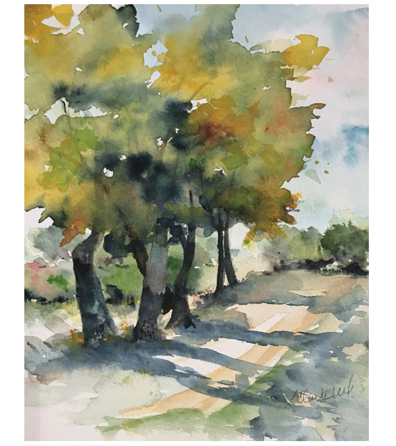 watercolor of trees lining a country road