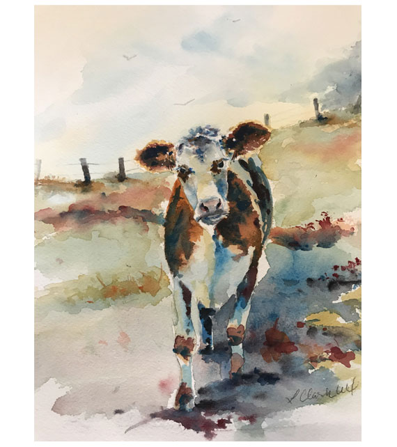 watercolor of a cow staring