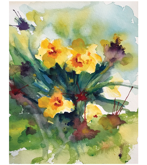 watercolor of blooming daffodils
