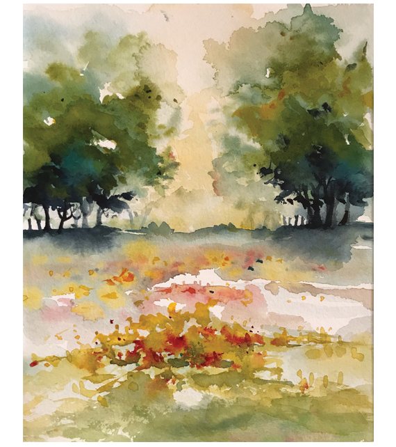 watercolor of an open field blooming