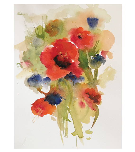 watercolor of blooming poppies and wildflowers