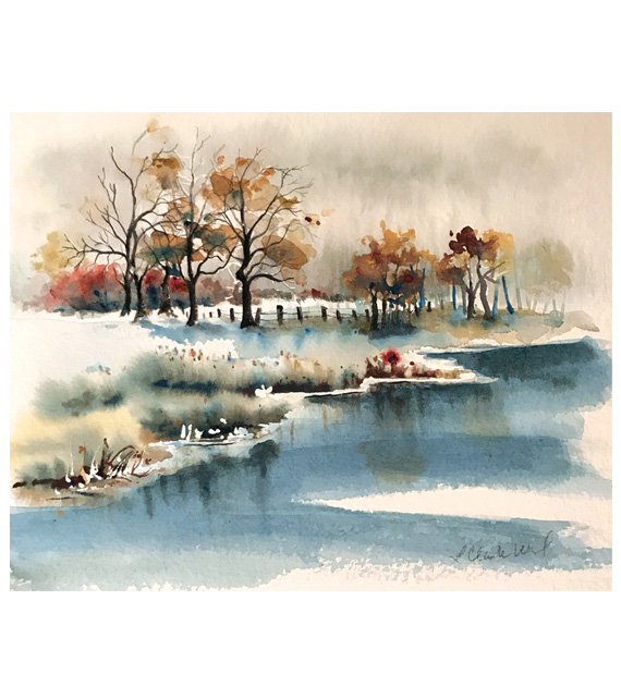 watercolor of a wintery quiet day