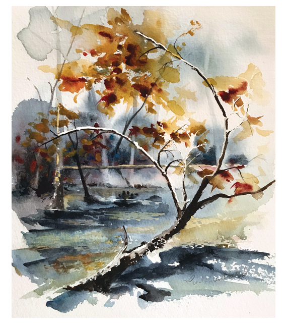 watercolor of a bent tree