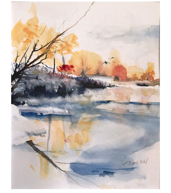 watercolor of a pond just starting to freeze forthe winter