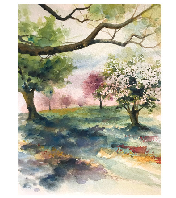 watercolor of dogwood and redbud trees blooming in countryside