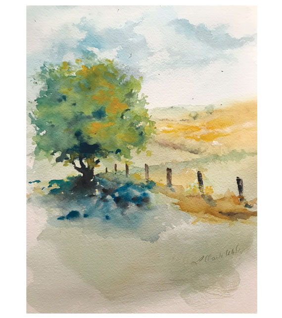 watercolor of fields in the summer
