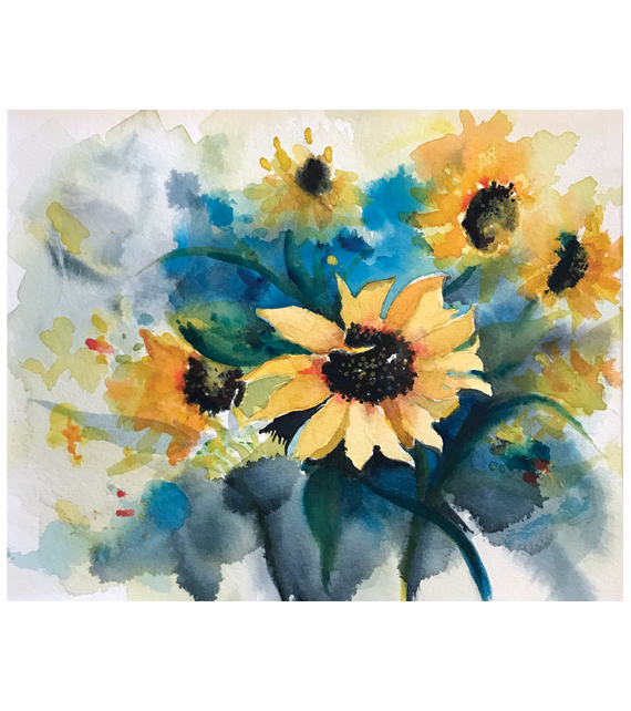 watercolor of sunflowers