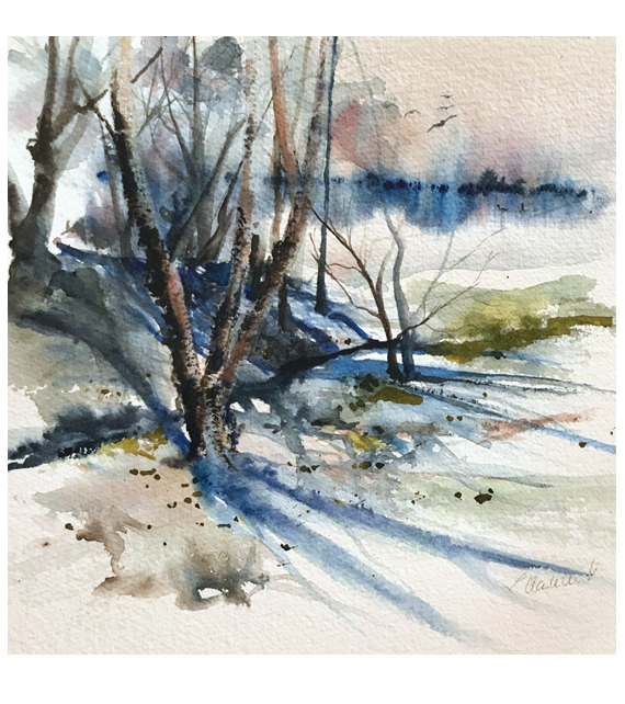 watercolor of a wintery reflections
