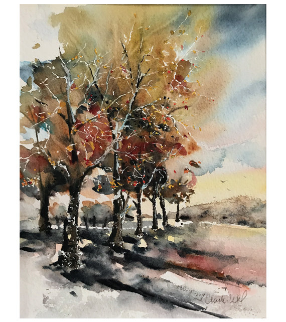 watercolor of trees hanging on to their leaves in early winter