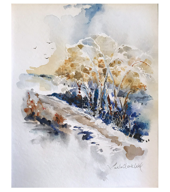 watercolor of winter trees with snow and ice