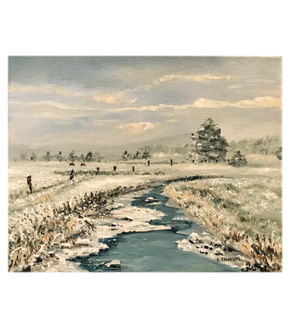 acrylic painting on canvas of a country stream freezing over in the winter