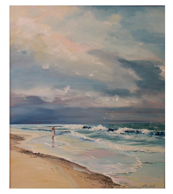 acrylic on canvas painting of woman at beach
